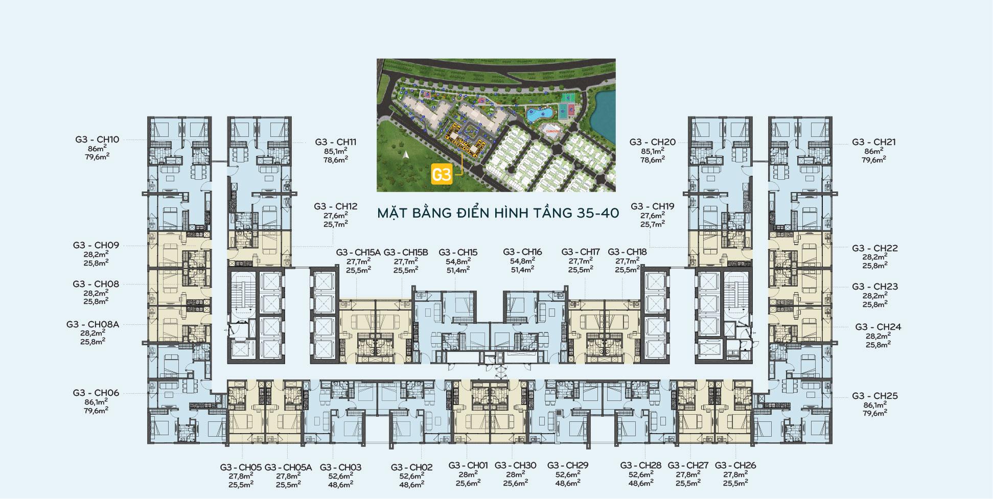 Mặt bằng tầng 35-40 tòa G3 Vinhomes Green Bay